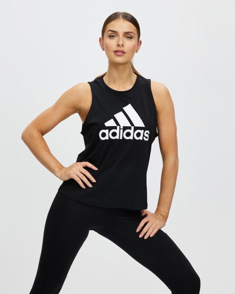 adidas Performance Essentials Big Logo Tank Top Muscle Tops Black & White