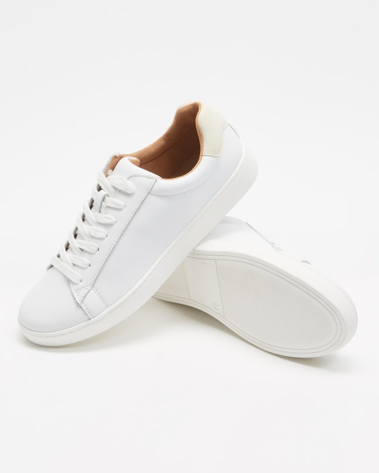 Atmos&Here Leo Leather Sneakers White & Cream Suede