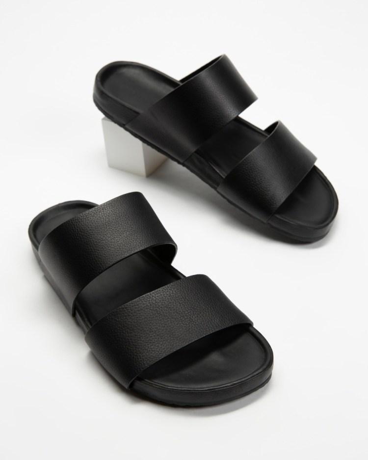 Assembly Label Double Strap Slides Men's Casual Shoes Black