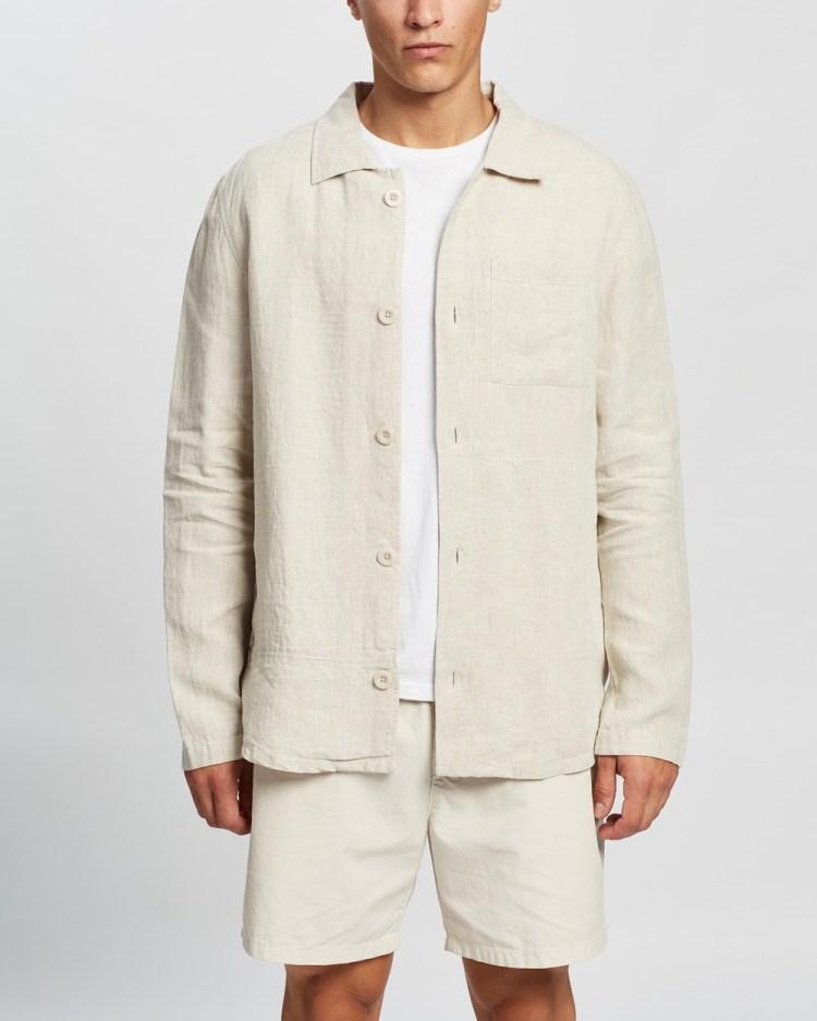 AERE Relaxed Linen Overshirt Coats & Jackets Oat