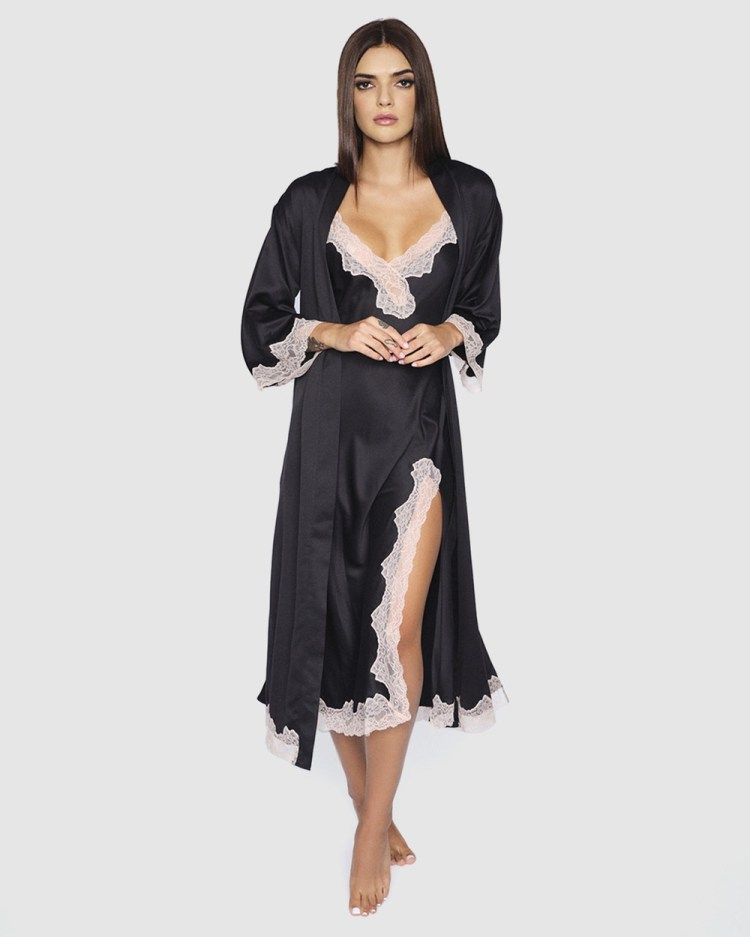 Ann Summers Selena Maxi Robe Sleepwear Black & Nude