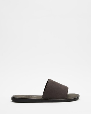 AERE Organic Canvas House Slides Slippers & Accessories Charcoal