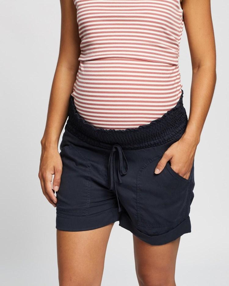 Angel Maternity Tencel Summer Shorts High-Waisted Navy