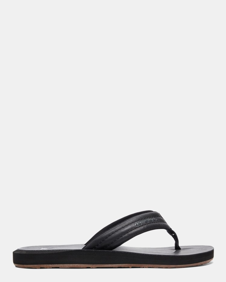 Quiksilver Mens Carver Nubuck Sandals Thongs SOLID BLACK