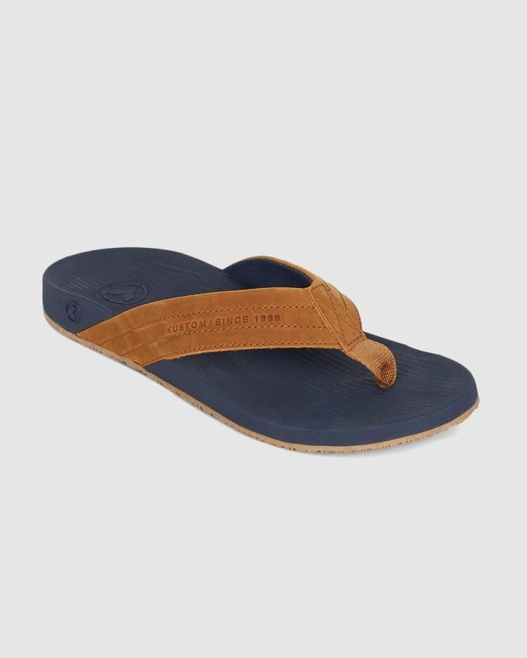 Kustom Cruiser Leather Thong Sandals NAVY TAN