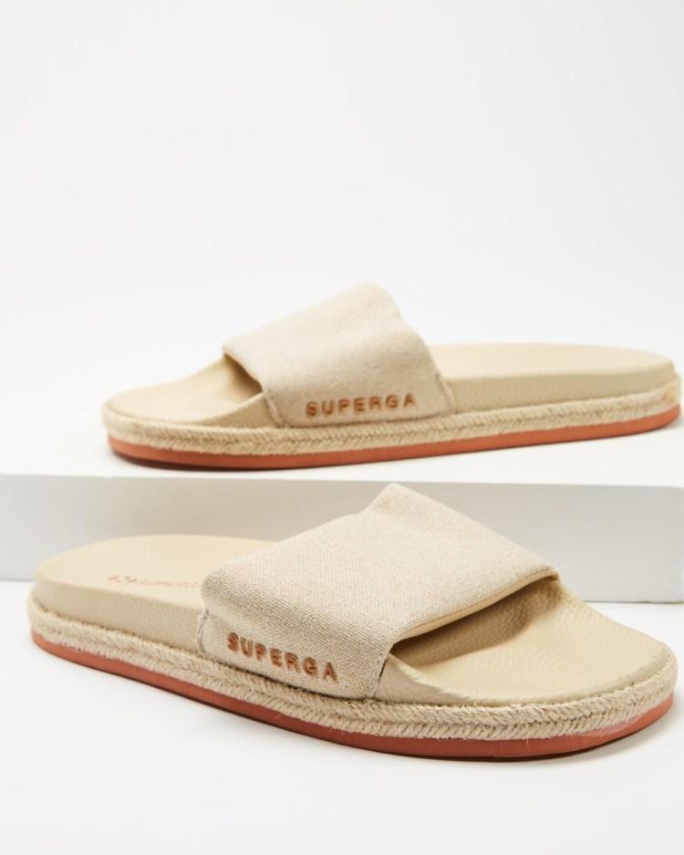 Superga 1908 Rope Linen Slides Women's Sandals Taupe