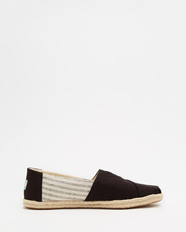 TOMS Ivy League Espadrille Men's Casual Shoes Black Stripe