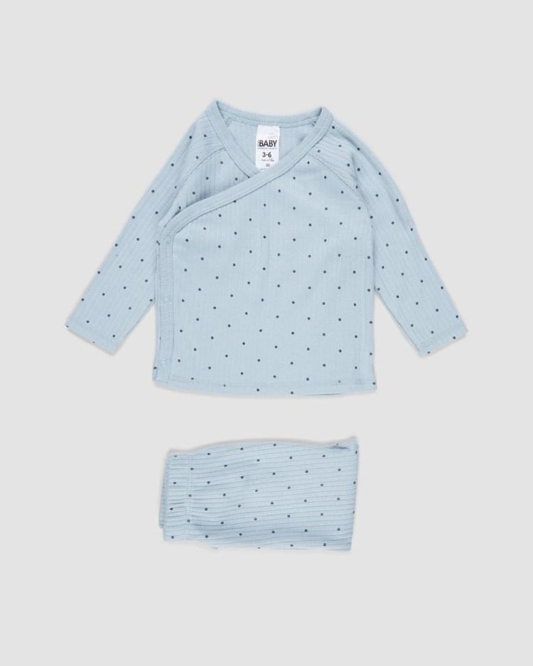 Cotton On Baby Newborn Beanie, Cardigan and Legging Bundle Babies Headwear Rain Cloud & Ocean Grey Betty Spot