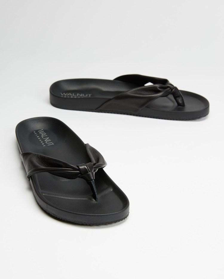 Walnut Melbourne Bondi Leather Slides All thongs Black