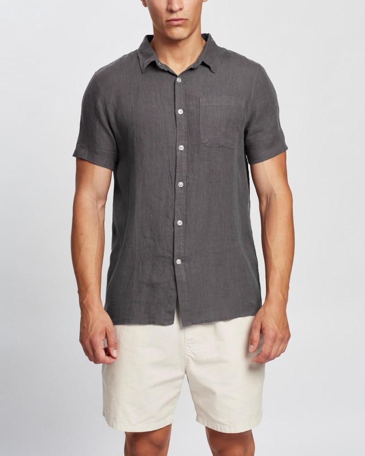 AERE SS Linen Shirt Casual shirts Charcoal