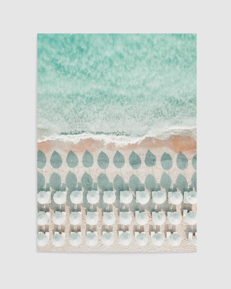 Olive et Oriel White Umbrellas Art Print A2 Home White A2