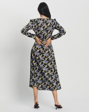 Missguided - Half Button LS Floral Midi Tea Dress - Dresses (Black) Half Button LS Floral Midi Tea Dress