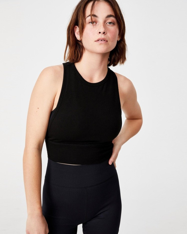 Cotton On Body Active Layering Crop Tank Tops Black