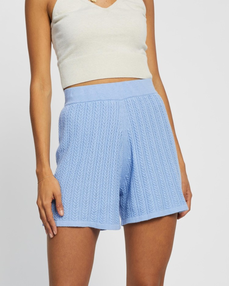 AERE Cable Knit Shorts High-Waisted Blue Cornflower
