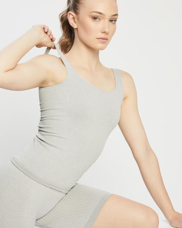 Aim'n Ribbed Seamless Singlet Muscle Tops Light Grey Melange