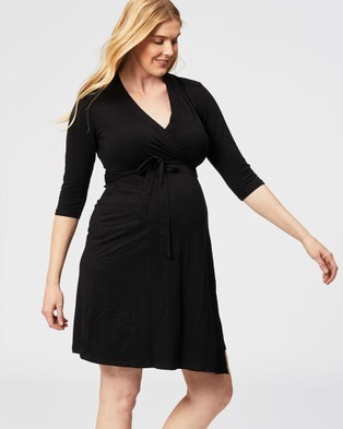 Cake Maternity - Custard Nursing Wrap Dress - Dresses (Black) Custard Nursing Wrap Dress