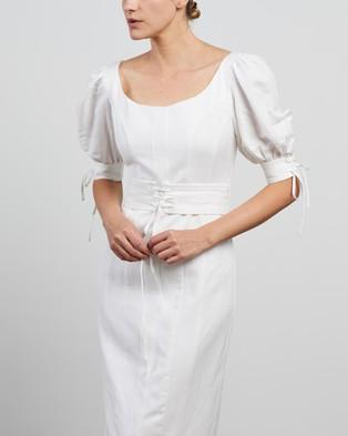 Shona Joy - Blanca Linen Fitted Midi Dress - Dresses (Ivory) Blanca Linen Fitted Midi Dress