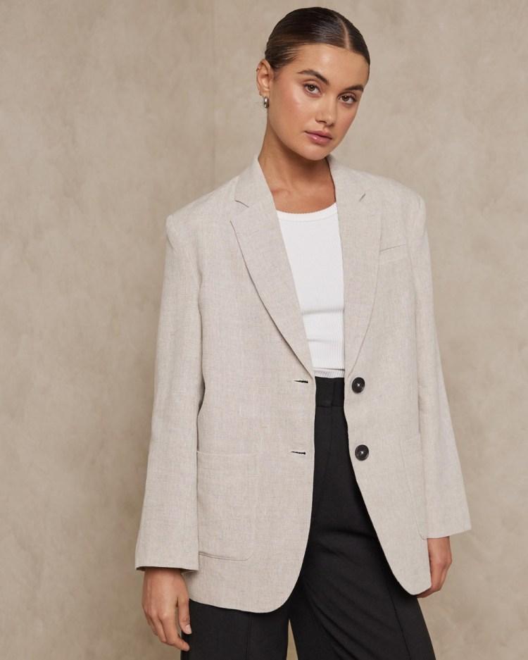 AERE Oversized Linen Blazer Blazers Neutral