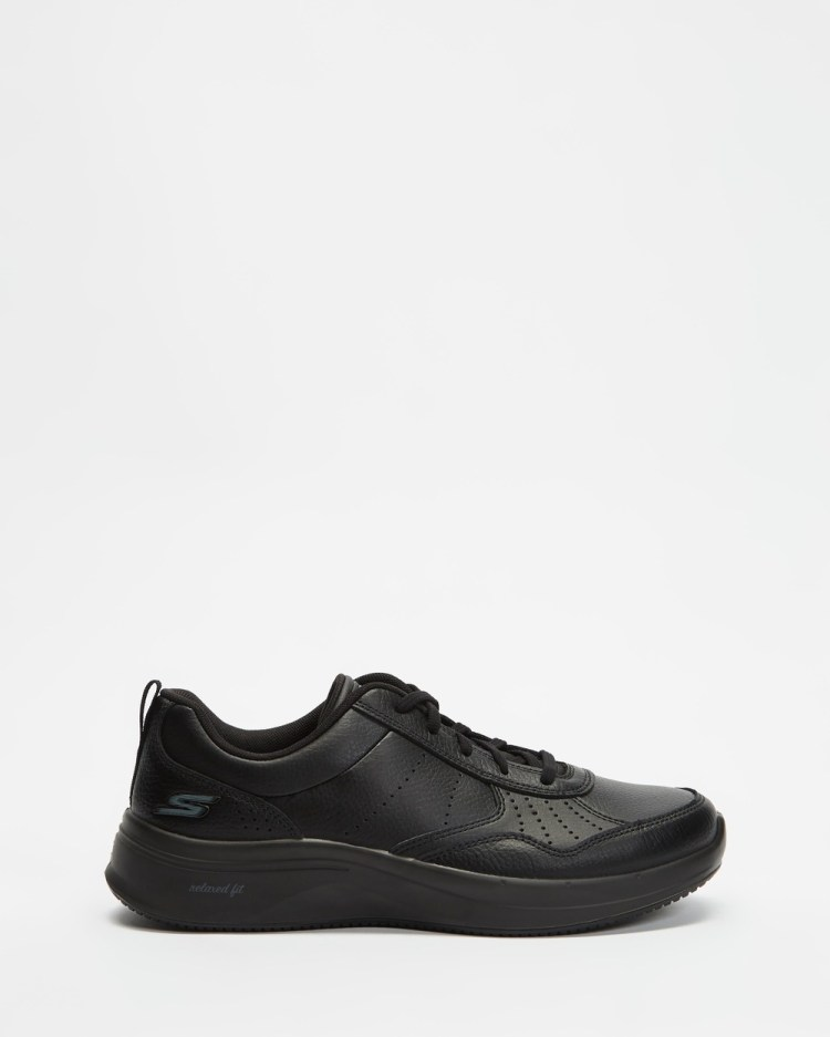 Skechers Go Walk Steady Womens Lifestyle Sneakers Black & Black