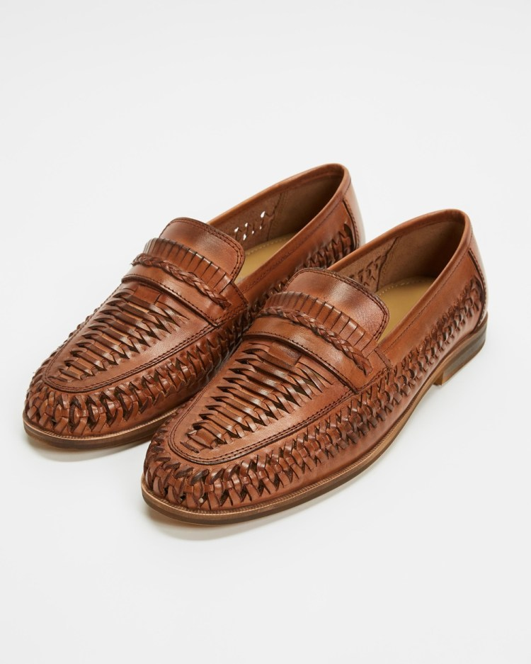 Staple Superior Molina Woven Leather Loafers Casual Shoes Tan