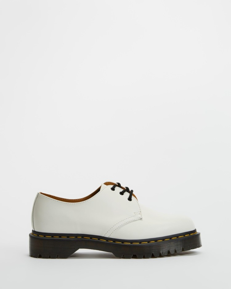 Dr Martens 1461 Bex 3 Eye Shoes Unisex Flats White Smooth 3-Eye