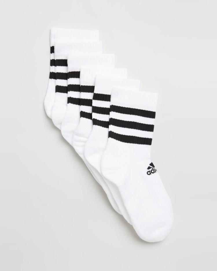 adidas Performance 3 Stripes Cushioned Crew Socks Pack White 3-Stripes 3-Pack
