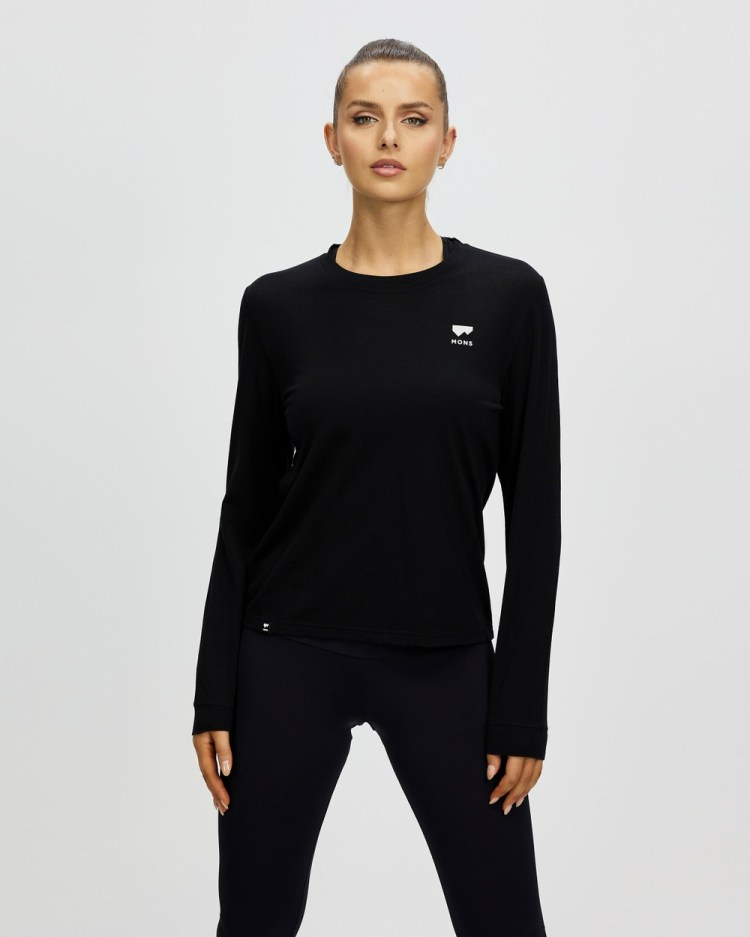 Mons Royale Icon Relaxed Long Sleeve Tee T-Shirts Black