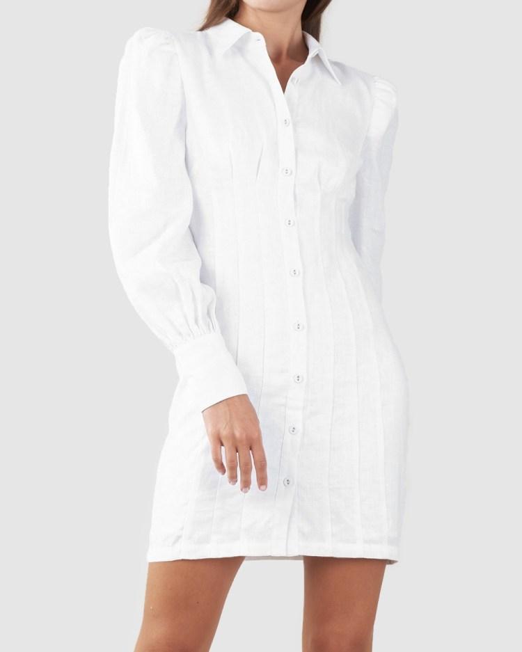 Amelius Emmie Mini Shirt Dress Dresses White