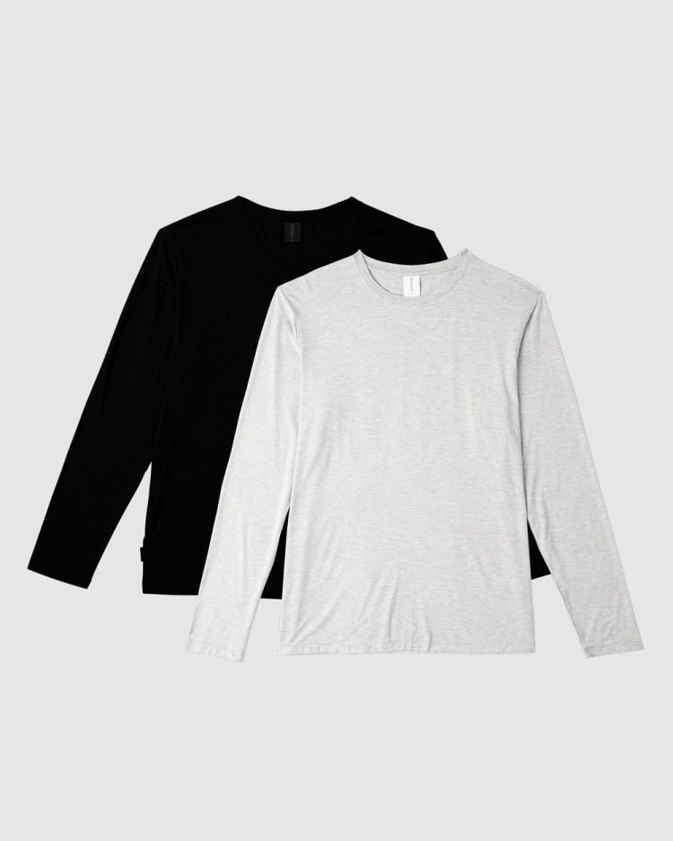 Boody Organic Bamboo Eco Wear 2 Pack Long Sleeve Crew Neck T Shirt T-Shirts Multi T-Shirt
