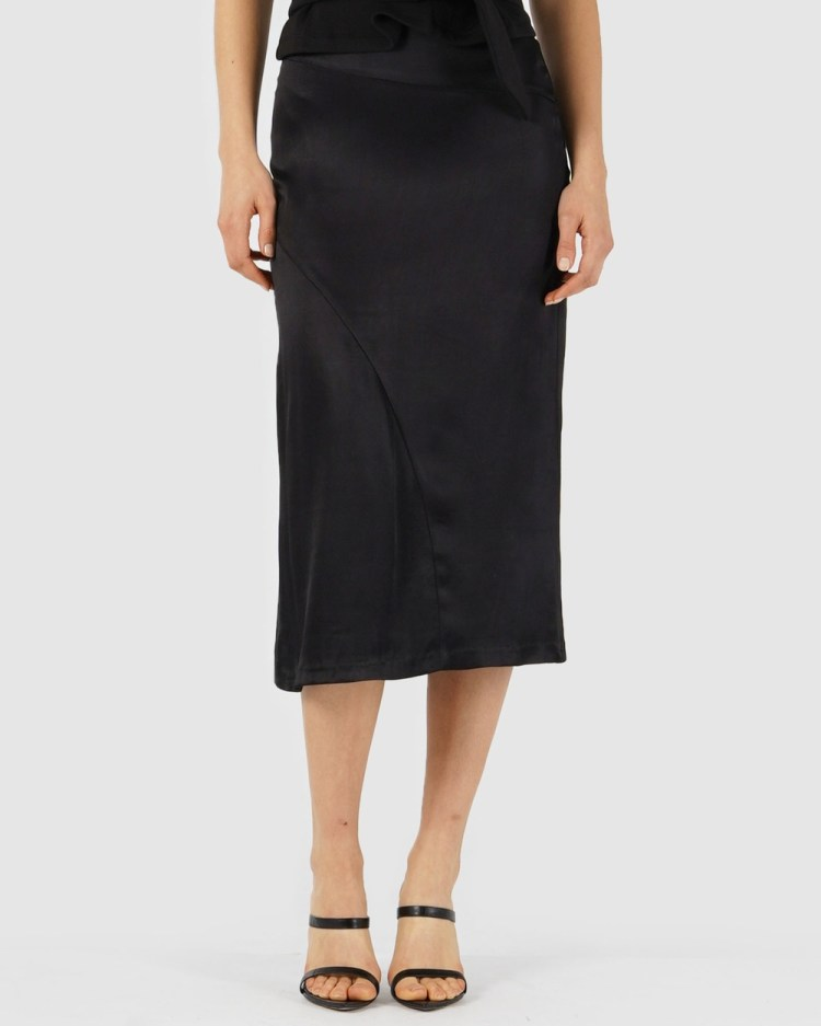 Amelius Saville Satin Skirt Leather skirts Black