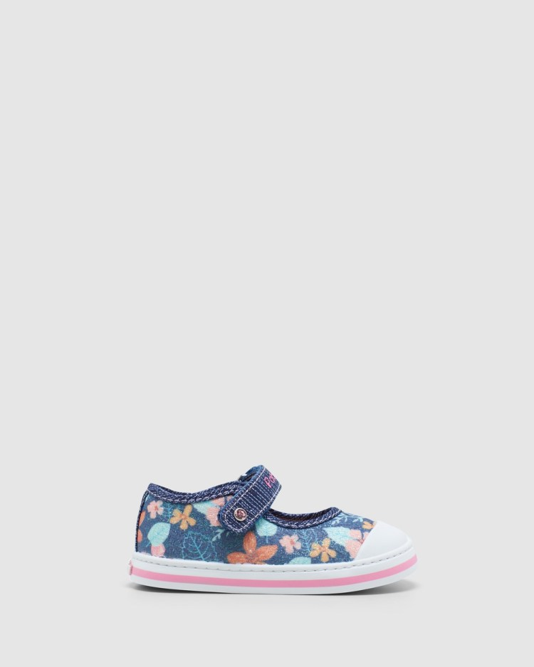 Pablosky Floral Canvas Mary Jane 9614 Infant Sneakers Navy Glitter
