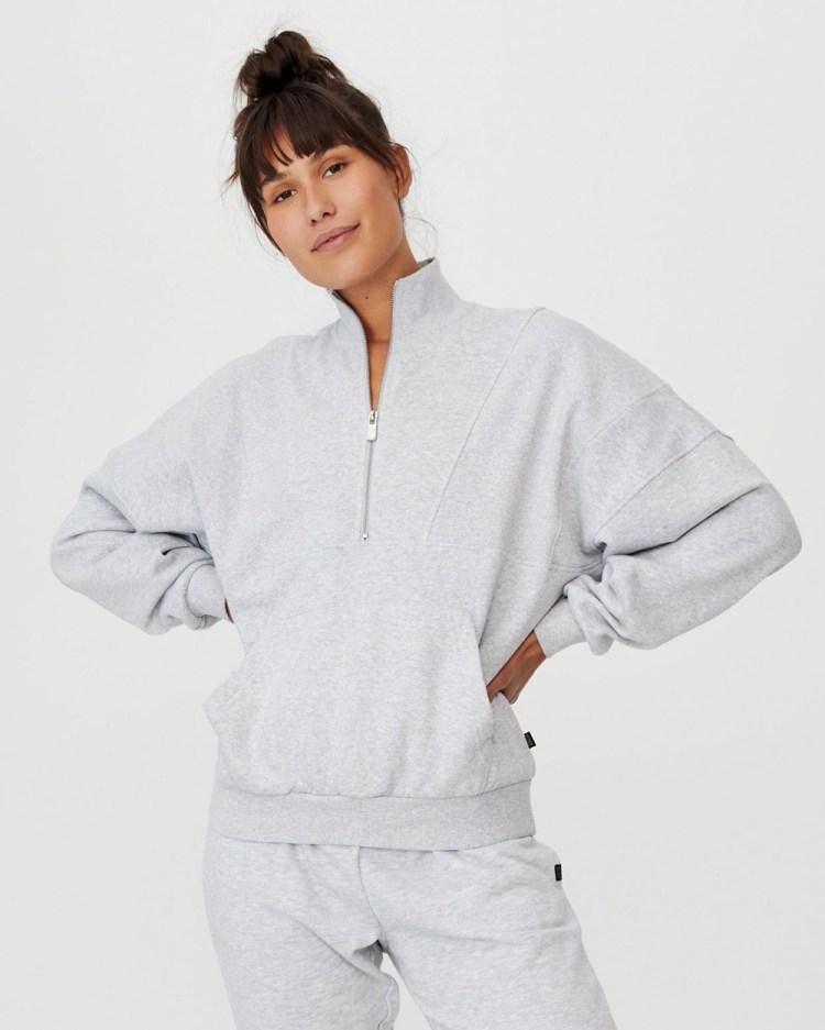Cotton On Body Active Lifestyle Half Zip Fleece Top Sweats Grey Marle