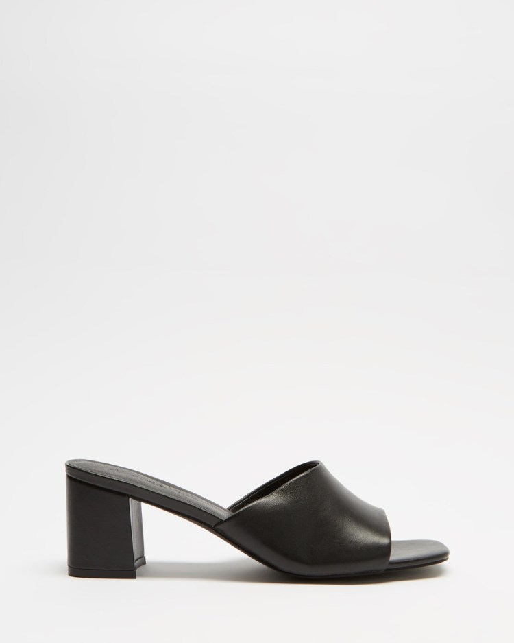 Atmos&Here Tina Leather Heels Sandals Black Leather