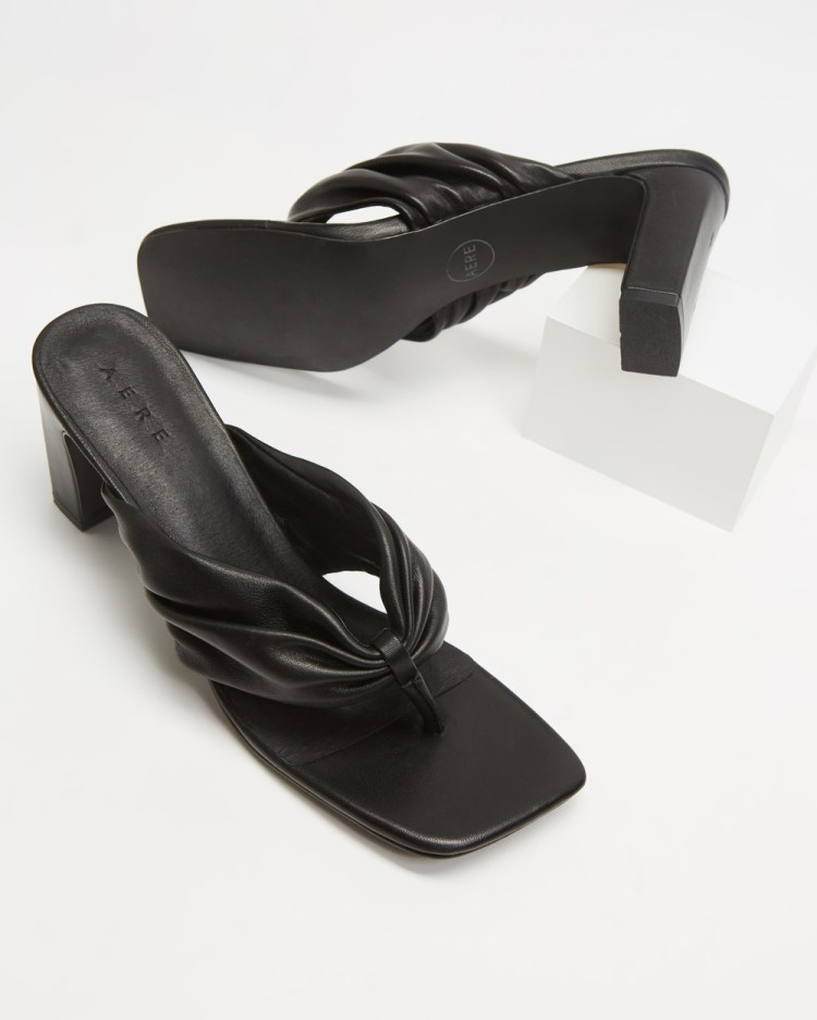 AERE Ruched Leather Thong Heels Black Leather