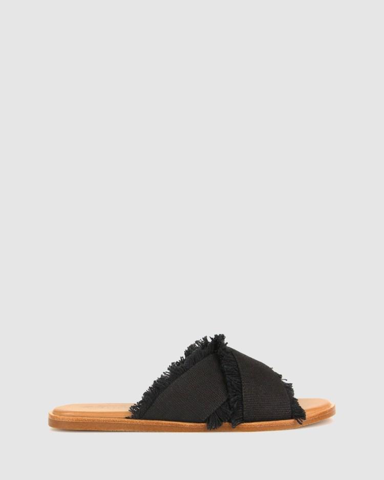 Betts Margot Linen Slides Sandals Black Linen