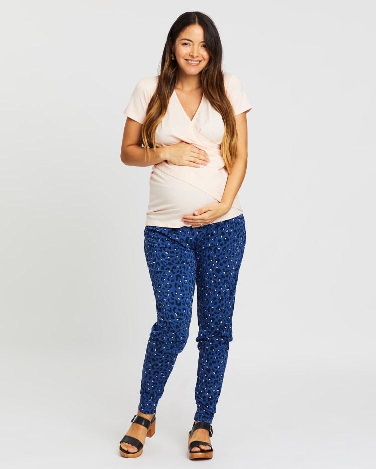 Angel Maternity Nursing Top & Pants Lounge Set Two-piece sets Peach Blue
