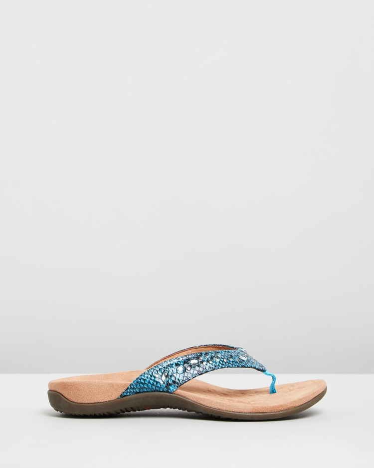 Vionic Lucia Toe Post Sandals All thongs Aqua Snake