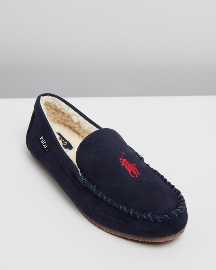 Polo Ralph Lauren Dezi V Slippers & Accessories Navy Microsuede Dark Red Player