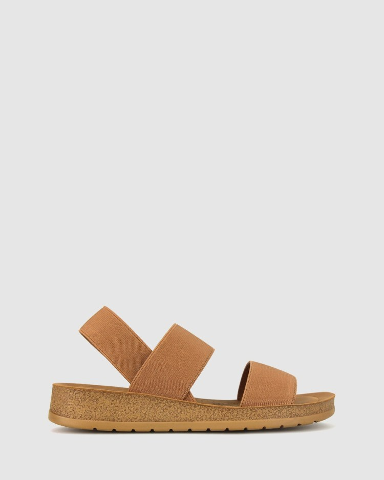 Zeroe Rise Elastic Low Wedge Sandals Tan