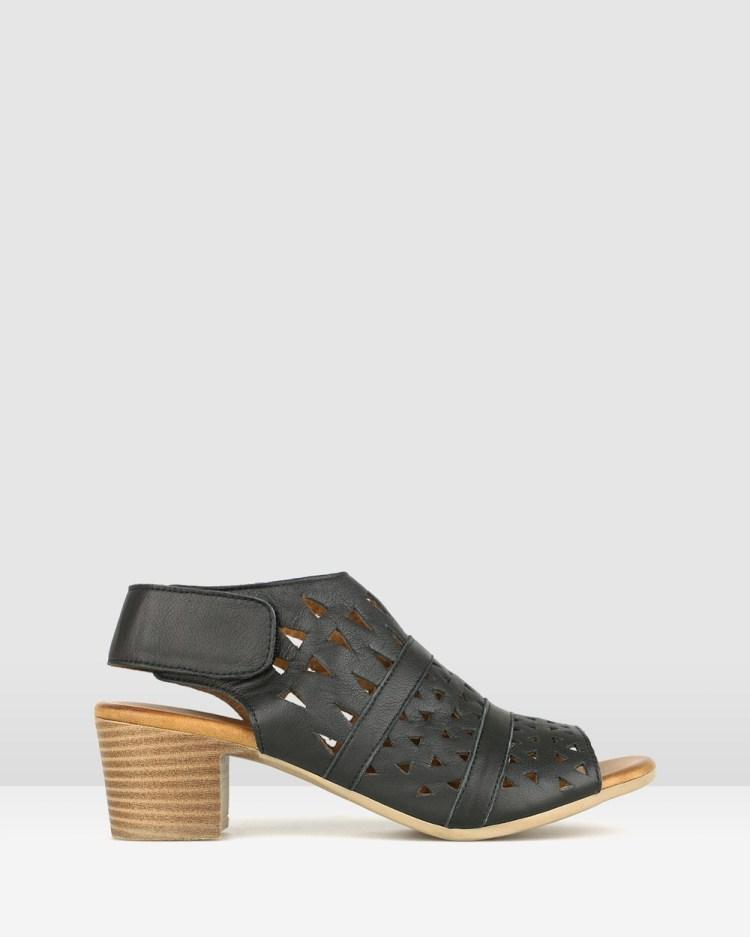 Airflex Delicious Cut Out Leather Sandals Black