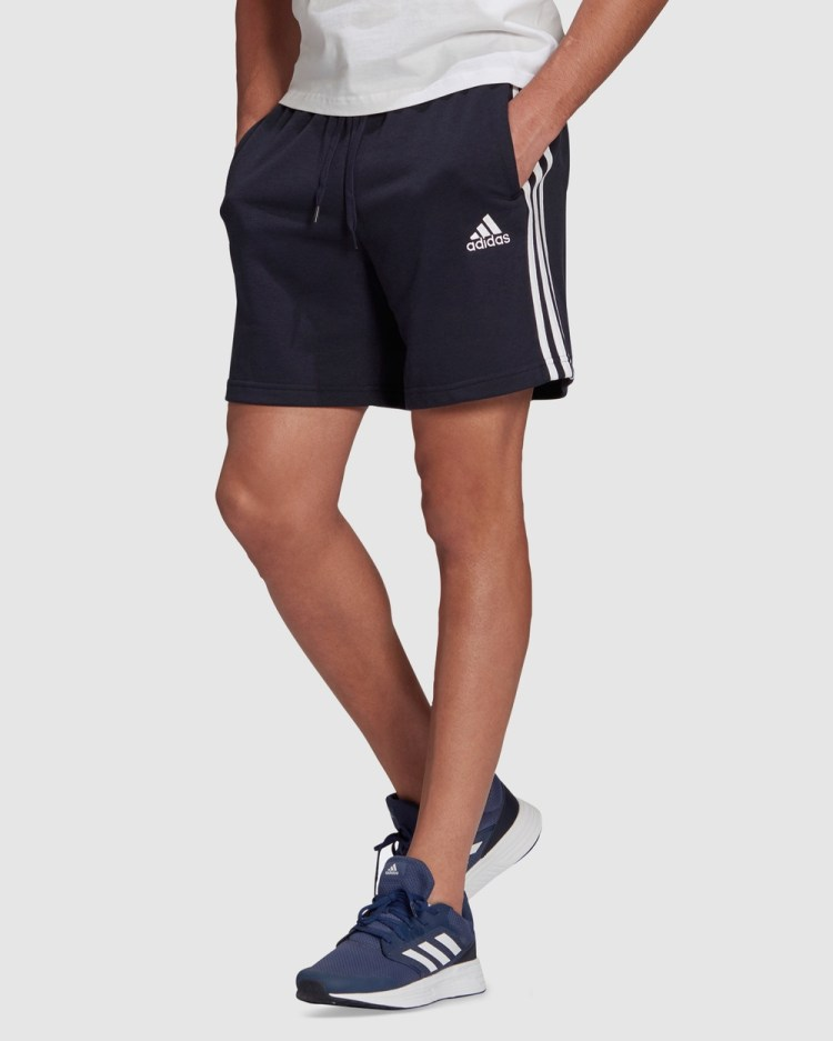 adidas Performance Essentials French Terry 3 Stripes Shorts Blue 3-Stripes
