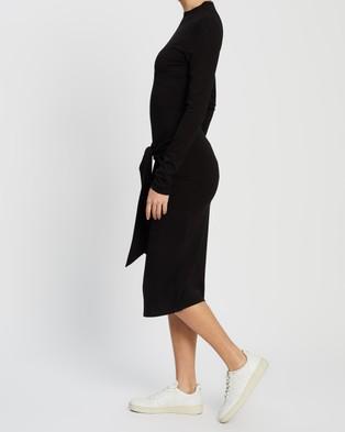 Atmos&Here - Meg Tie Front Midi Dress - Dresses (Black) Meg Tie Front Midi Dress