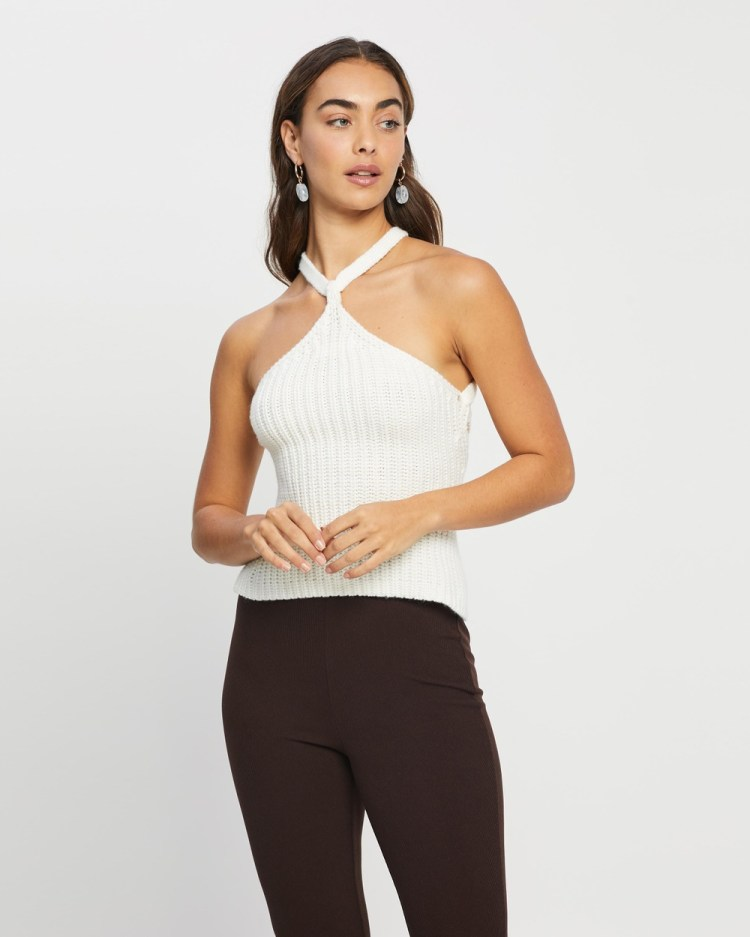 4th & Reckless Lauren Knit Halter Neck Top Cropped tops White