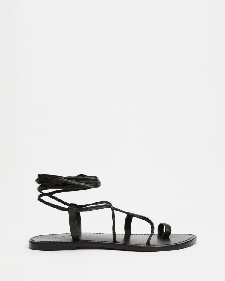 AERE Ankle Tie Leather Sandals Black Leather