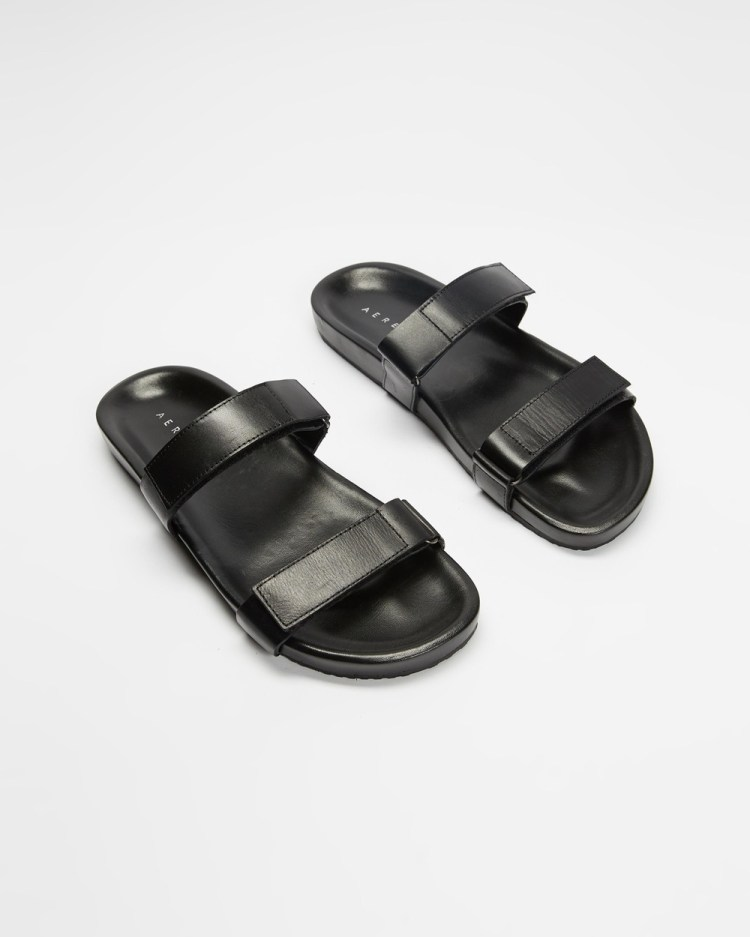 AERE Two Strap Velcro Leather Sandals Casual Shoes Black