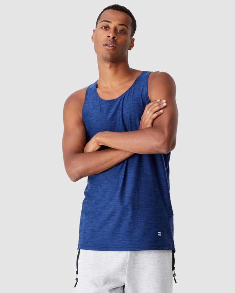 Cotton On Performance Active Tech Tank Muscle Tops Navy Heather