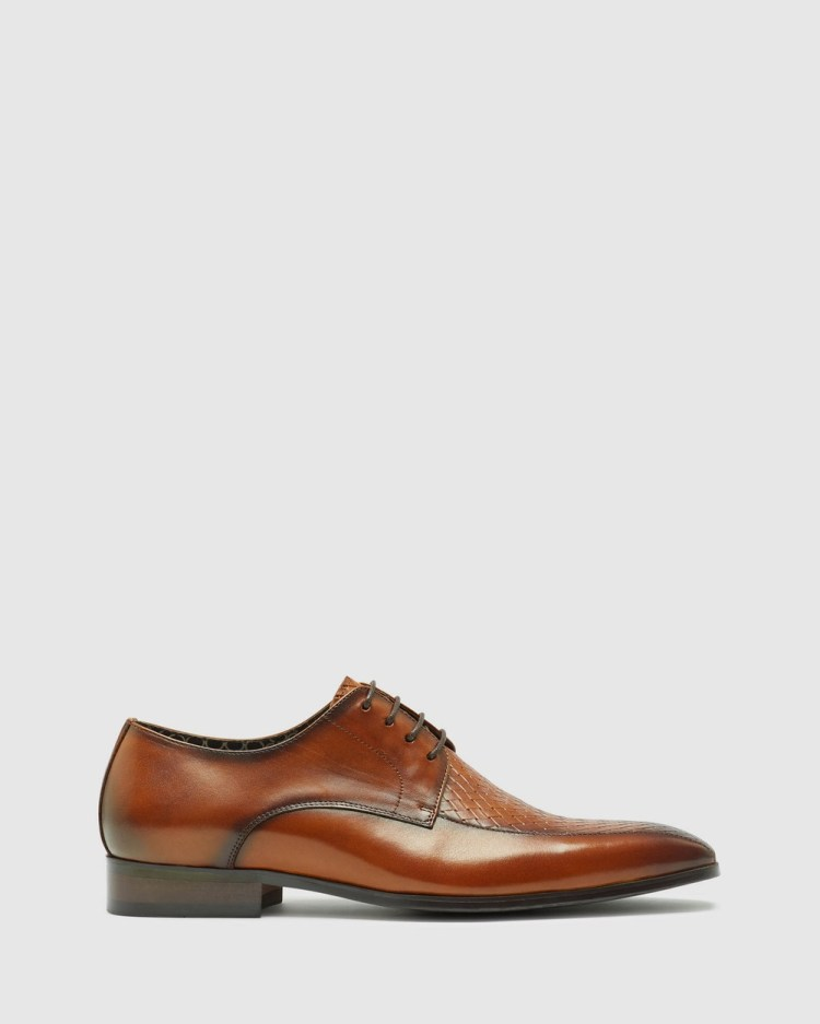 Oxford Heaney Woven Leather Derby Shoe Dress Shoes Brown