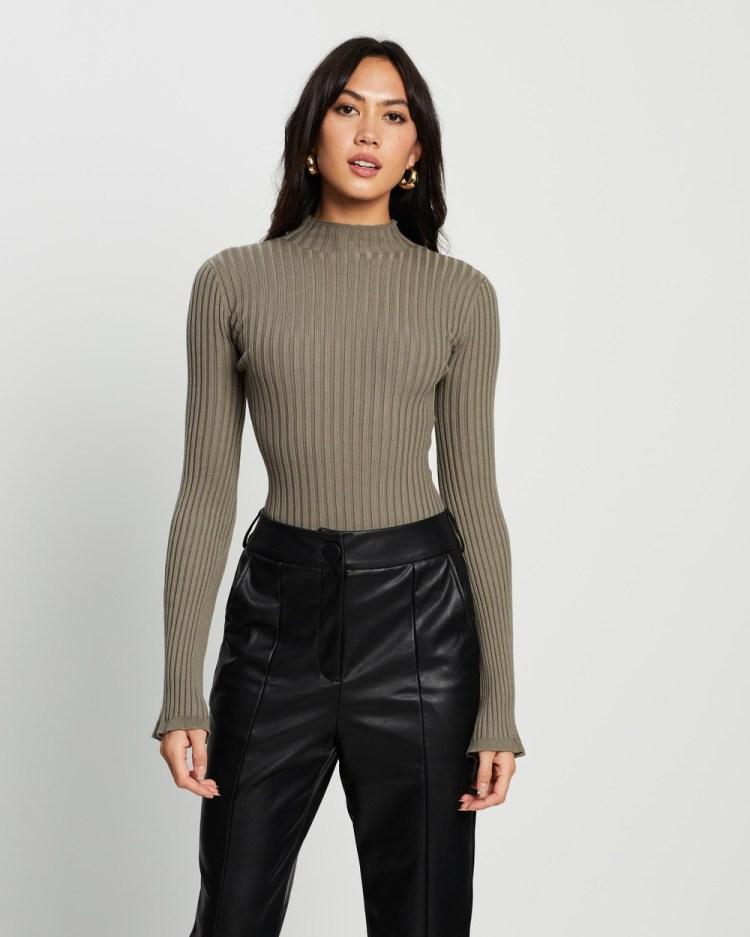 4th & Reckless Ayla Knit Bodysuit Tops Khaki
