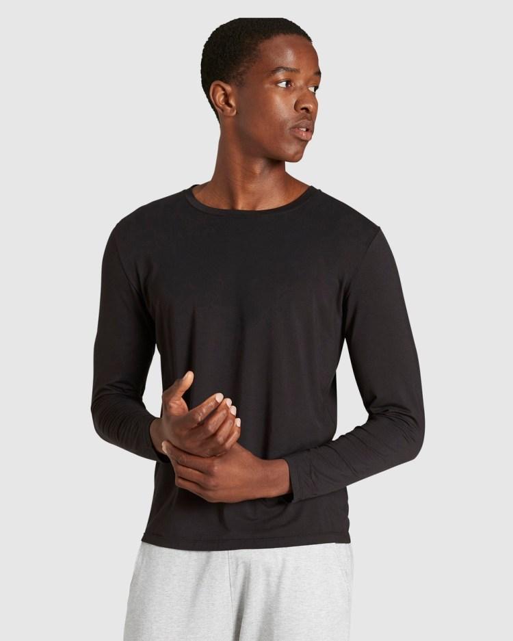 Boody Organic Bamboo Eco Wear Long Sleeve Crew Neck T Shirt T-Shirts Black T-Shirt
