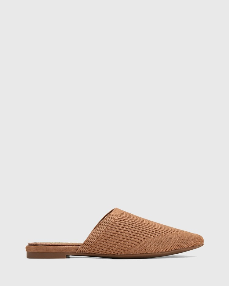 Wittner Picnic Recycled Flyknit Mules Heels Tan